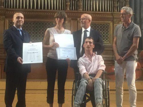 Benemerenza a  EUGENIO MIGLIACCIO, atleta paralimpico vincitore del campionato italiano di danza sportiva.